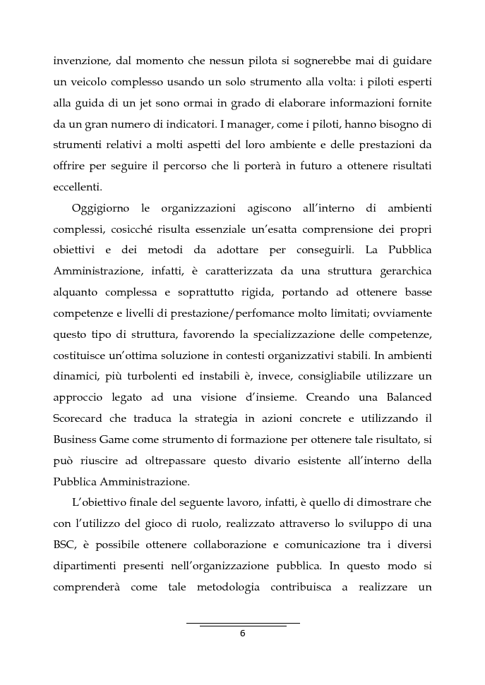 Anteprima della tesi: Il Business Game come strumento innovativo per la formazione delle persone nella Pubblica Amministrazione - Sviluppo di un'applicazione attraverso la Balanced Scorecard, Pagina 4