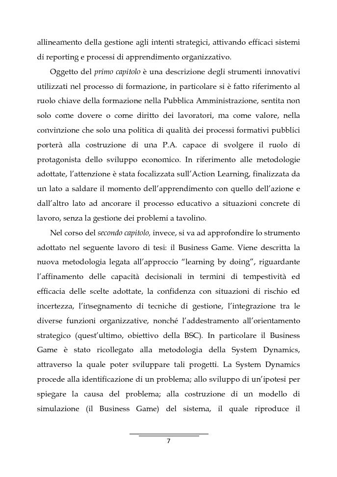 Anteprima della tesi: Il Business Game come strumento innovativo per la formazione delle persone nella Pubblica Amministrazione - Sviluppo di un'applicazione attraverso la Balanced Scorecard, Pagina 5