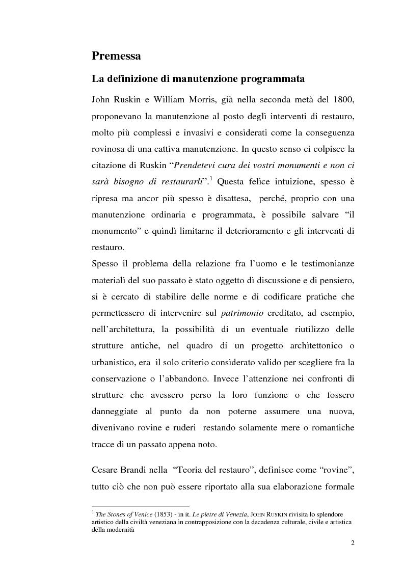Anteprima della tesi: La manutenzione programmata sul sito archeologico di San Vincenzo al Volturno: Analisi e indagini preliminari sulla cappella di Santa Restituta, Pagina 1