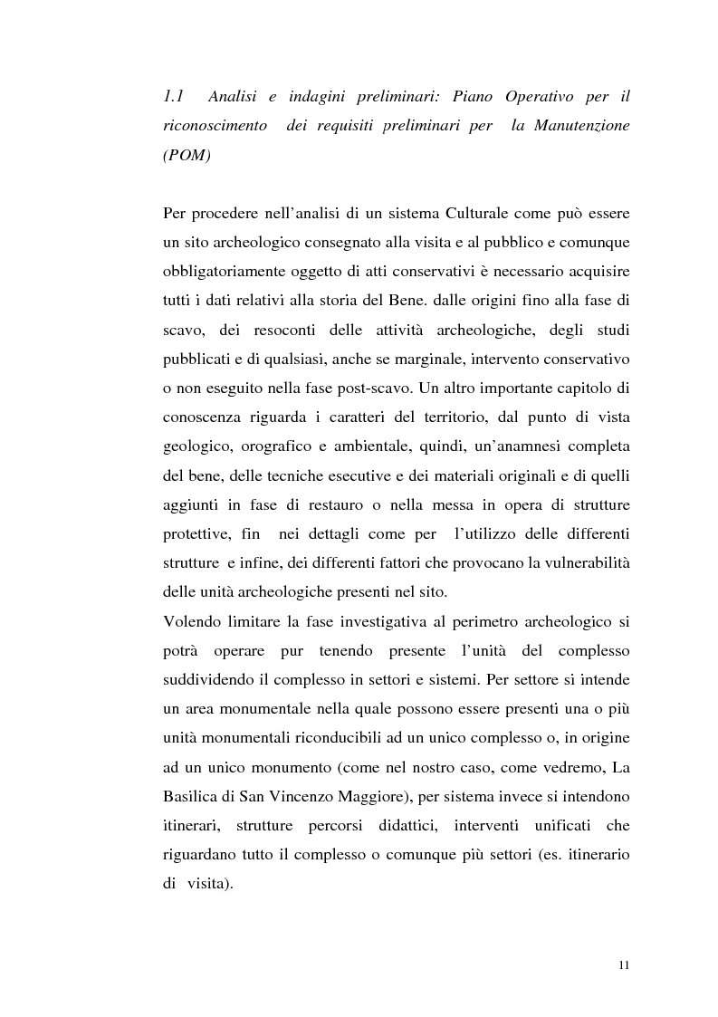 Anteprima della tesi: La manutenzione programmata sul sito archeologico di San Vincenzo al Volturno: Analisi e indagini preliminari sulla cappella di Santa Restituta, Pagina 10