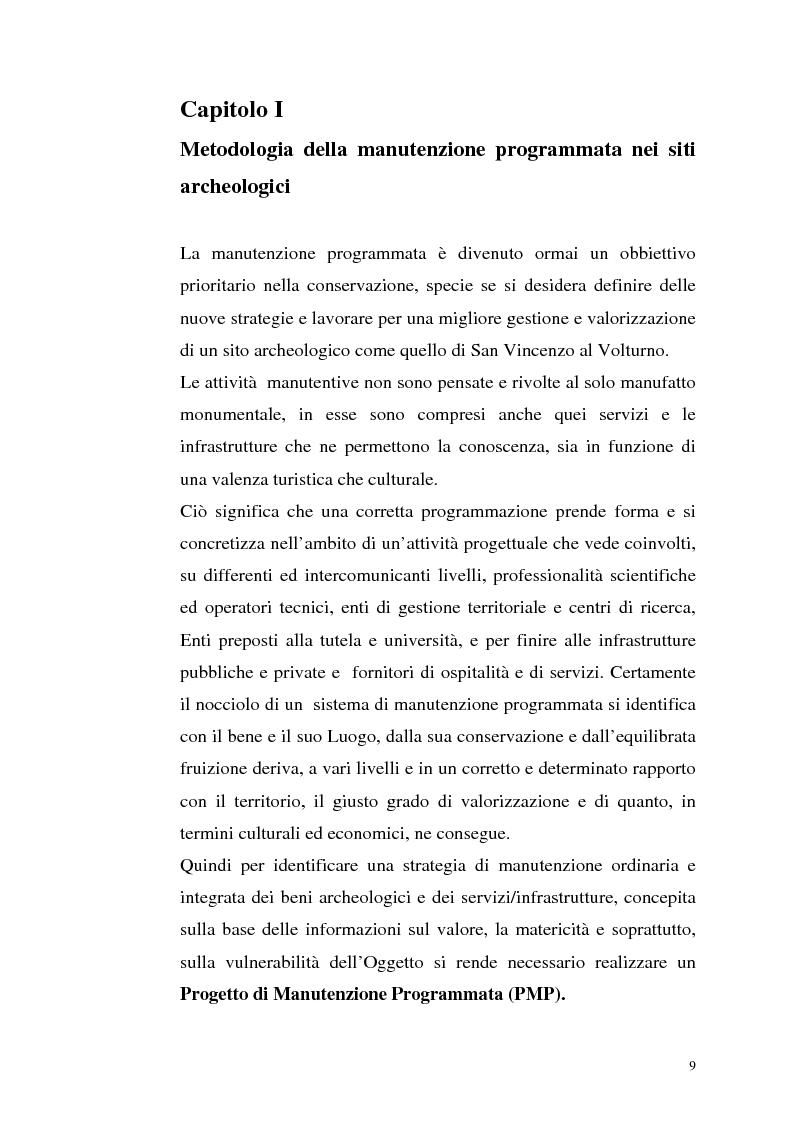 Anteprima della tesi: La manutenzione programmata sul sito archeologico di San Vincenzo al Volturno: Analisi e indagini preliminari sulla cappella di Santa Restituta, Pagina 8
