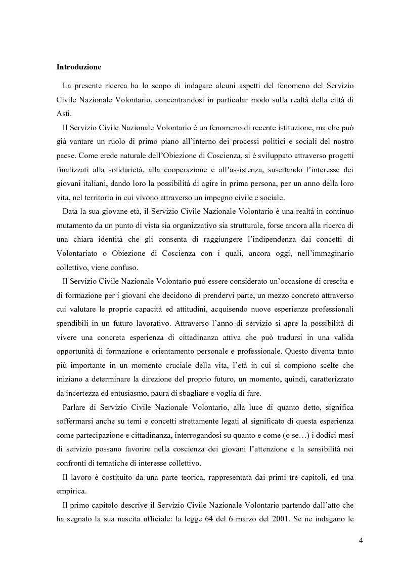 Anteprima della tesi: Partecipazione e cittadinanza attiva. Il punto di vista dei volontari di Servizio Civile Nazionale. Una ricerca empirica., Pagina 1