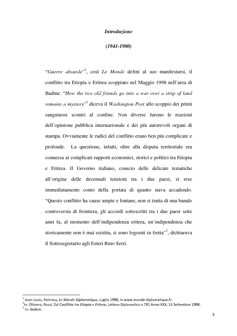 Anteprima della tesi: L'internazionalizzazione di un conflitto regionale: Eritrea-Etiopia, Pagina 1