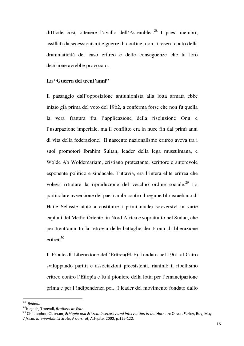 Anteprima della tesi: L'internazionalizzazione di un conflitto regionale: Eritrea-Etiopia, Pagina 11