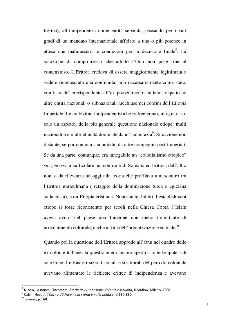 Anteprima della tesi: L'internazionalizzazione di un conflitto regionale: Eritrea-Etiopia, Pagina 3