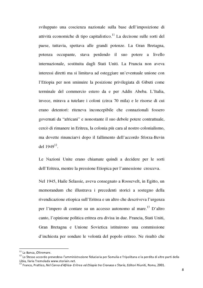 Anteprima della tesi: L'internazionalizzazione di un conflitto regionale: Eritrea-Etiopia, Pagina 4