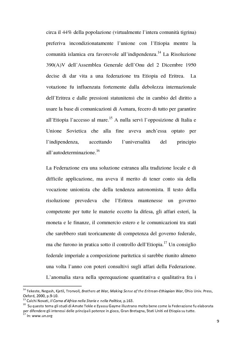 Anteprima della tesi: L'internazionalizzazione di un conflitto regionale: Eritrea-Etiopia, Pagina 5