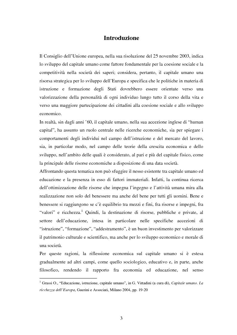Anteprima della tesi: L'investimento nel capitale umano e il ruolo dell'istruzione: aspetti micro e macro, Pagina 1