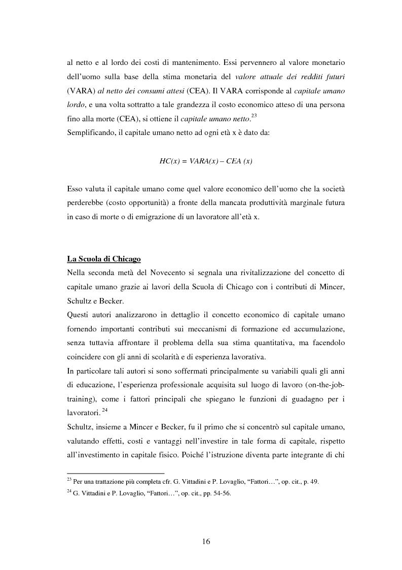 Anteprima della tesi: L'investimento nel capitale umano e il ruolo dell'istruzione: aspetti micro e macro, Pagina 14