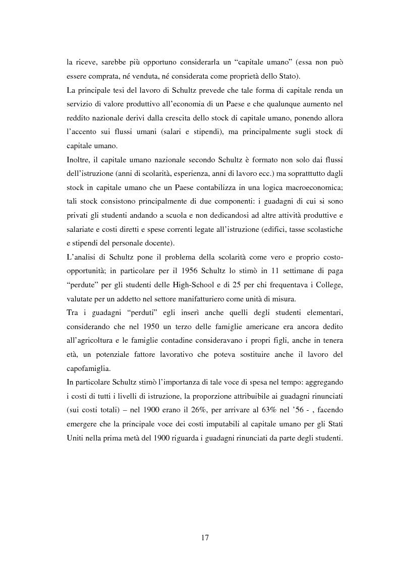 Anteprima della tesi: L'investimento nel capitale umano e il ruolo dell'istruzione: aspetti micro e macro, Pagina 15