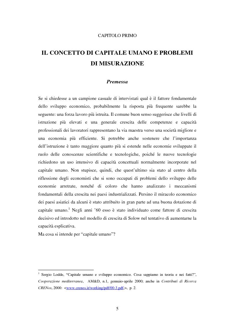 Anteprima della tesi: L'investimento nel capitale umano e il ruolo dell'istruzione: aspetti micro e macro, Pagina 3