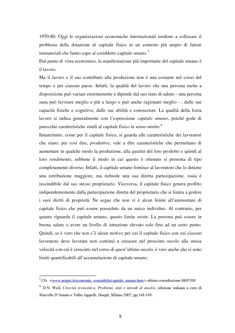 Anteprima della tesi: L'investimento nel capitale umano e il ruolo dell'istruzione: aspetti micro e macro, Pagina 6