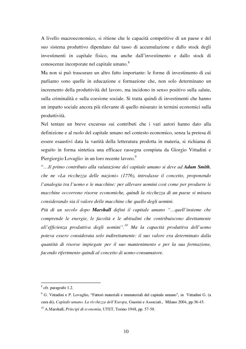 Anteprima della tesi: L'investimento nel capitale umano e il ruolo dell'istruzione: aspetti micro e macro, Pagina 8