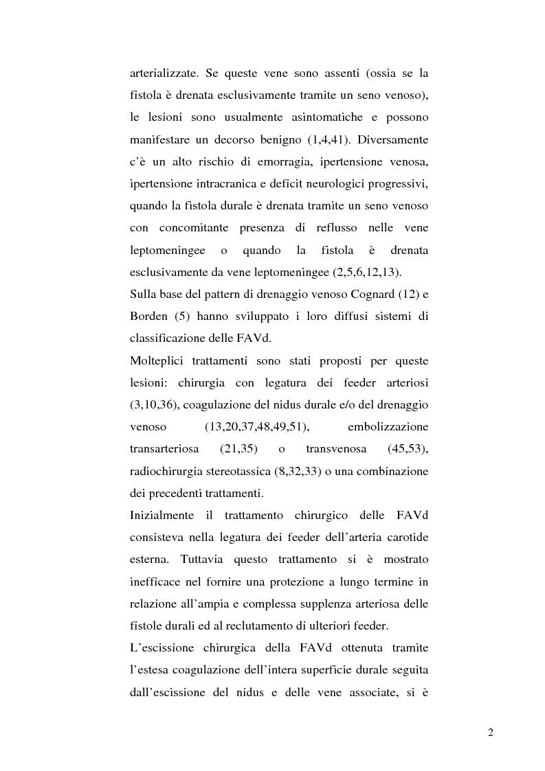 Anteprima della tesi: Le fistole arterovenose durali senza drenaggio in un seno venoso durale: esperienza di un singolo centro e valutazione dei trattamenti chirurgico ed endovascolare, Pagina 2