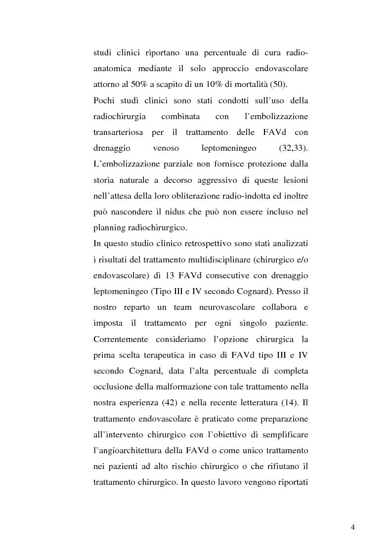 Anteprima della tesi: Le fistole arterovenose durali senza drenaggio in un seno venoso durale: esperienza di un singolo centro e valutazione dei trattamenti chirurgico ed endovascolare, Pagina 4