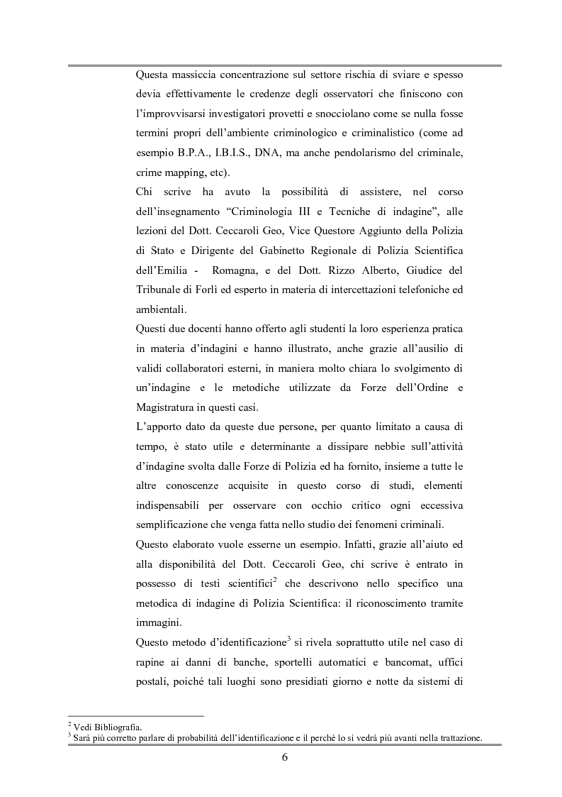 Anteprima della tesi: Le indagini tese al riconoscimento di autore di reato tramite immagini, Pagina 2