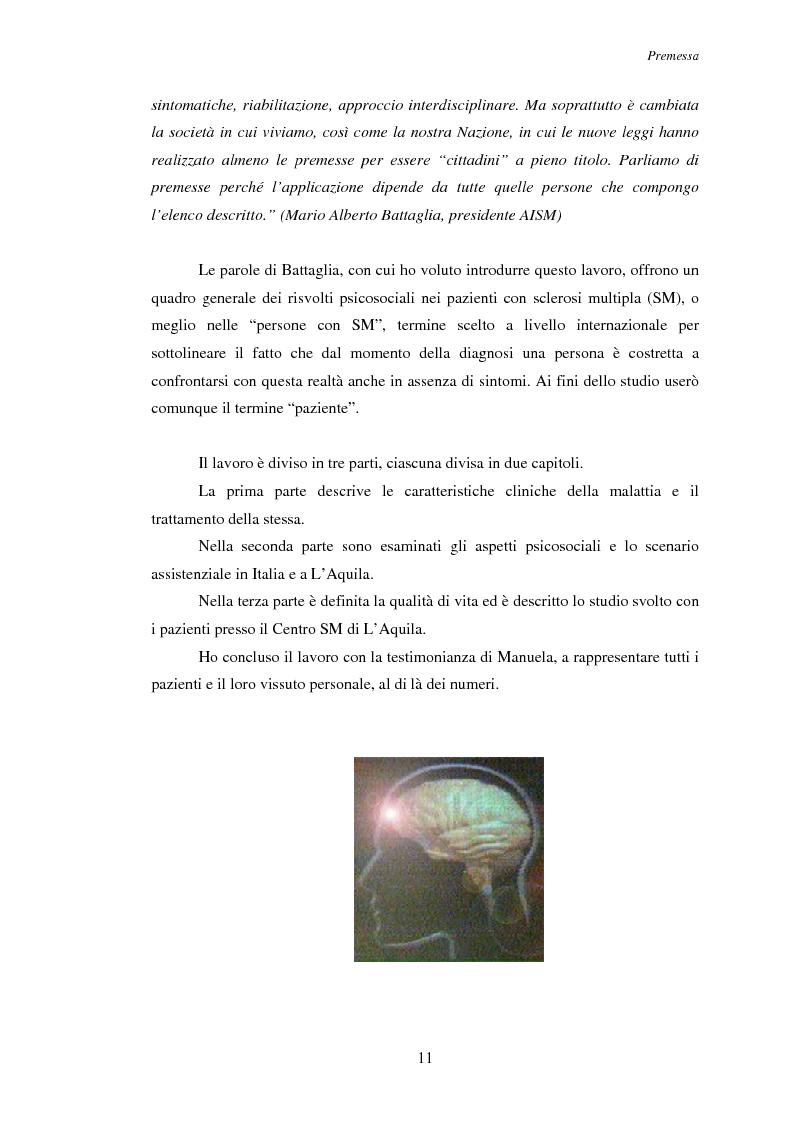 Anteprima della tesi: Aspetti psicosociali nei pazienti affetti da sclerosi multipla - Ruolo dei caregivers e dei supporti esterni. Trattamenti integrati per migliorare la qualità della vita, Pagina 2