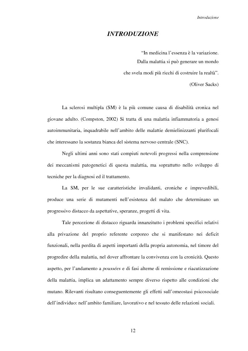 Anteprima della tesi: Aspetti psicosociali nei pazienti affetti da sclerosi multipla - Ruolo dei caregivers e dei supporti esterni. Trattamenti integrati per migliorare la qualità della vita, Pagina 3