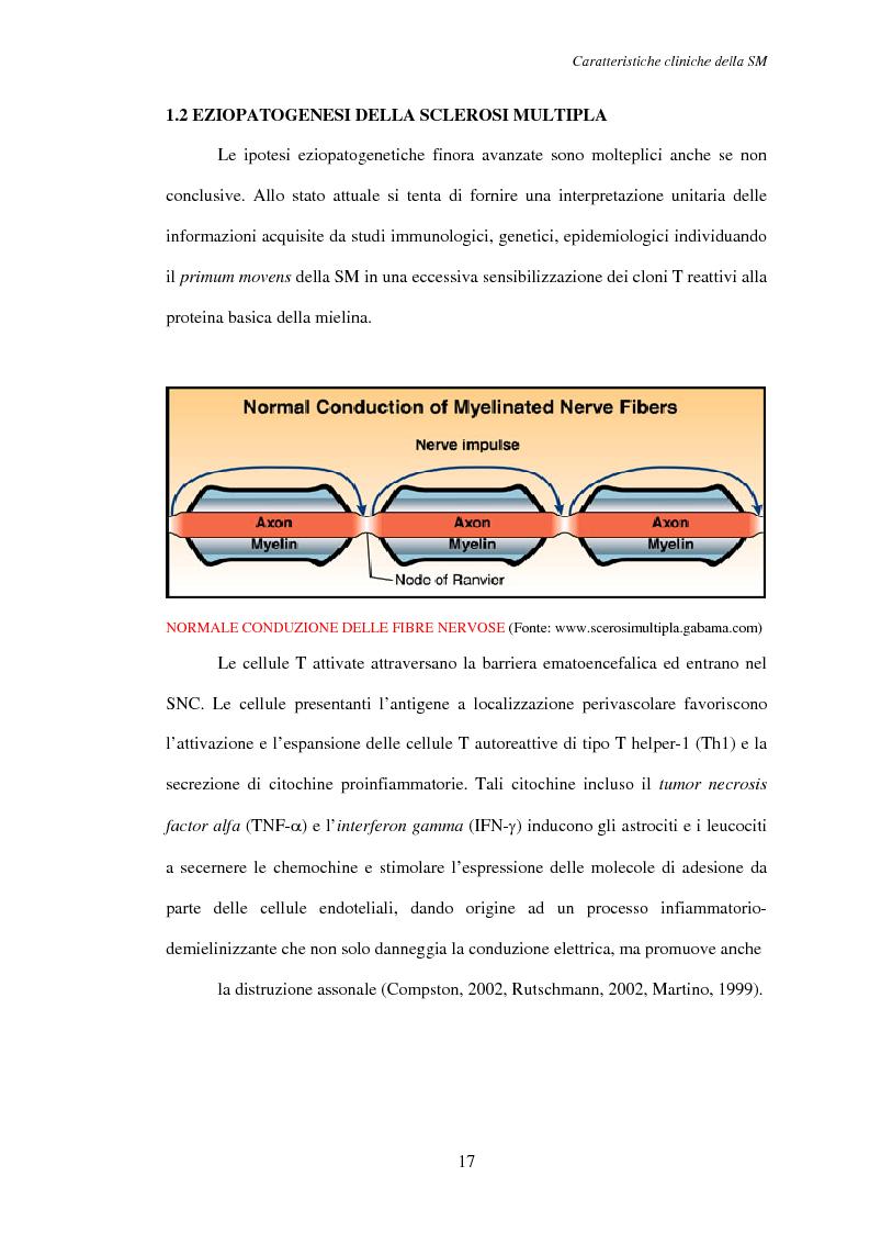 Anteprima della tesi: Aspetti psicosociali nei pazienti affetti da sclerosi multipla - Ruolo dei caregivers e dei supporti esterni. Trattamenti integrati per migliorare la qualità della vita, Pagina 8