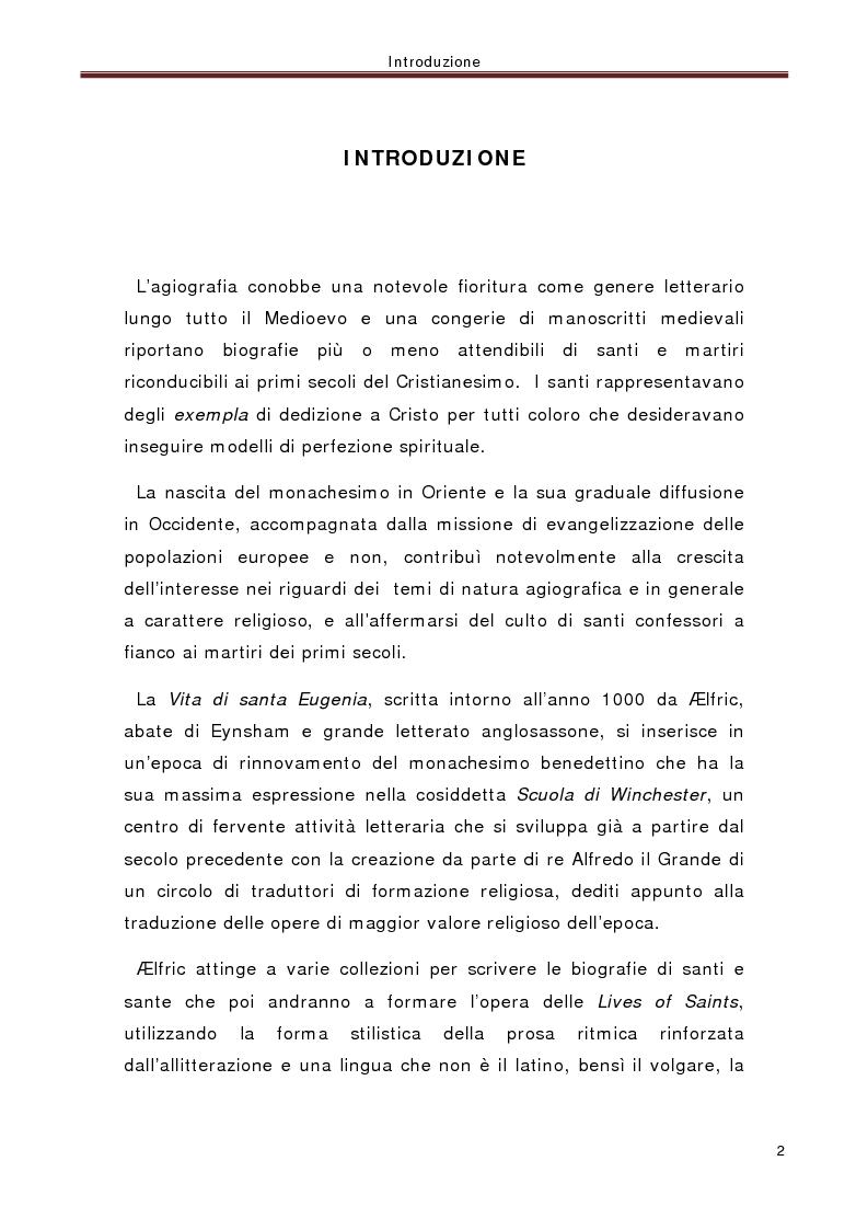 Anteprima della tesi: La ''Vita di santa Eugenia'' nel contesto anglosassone, Pagina 1