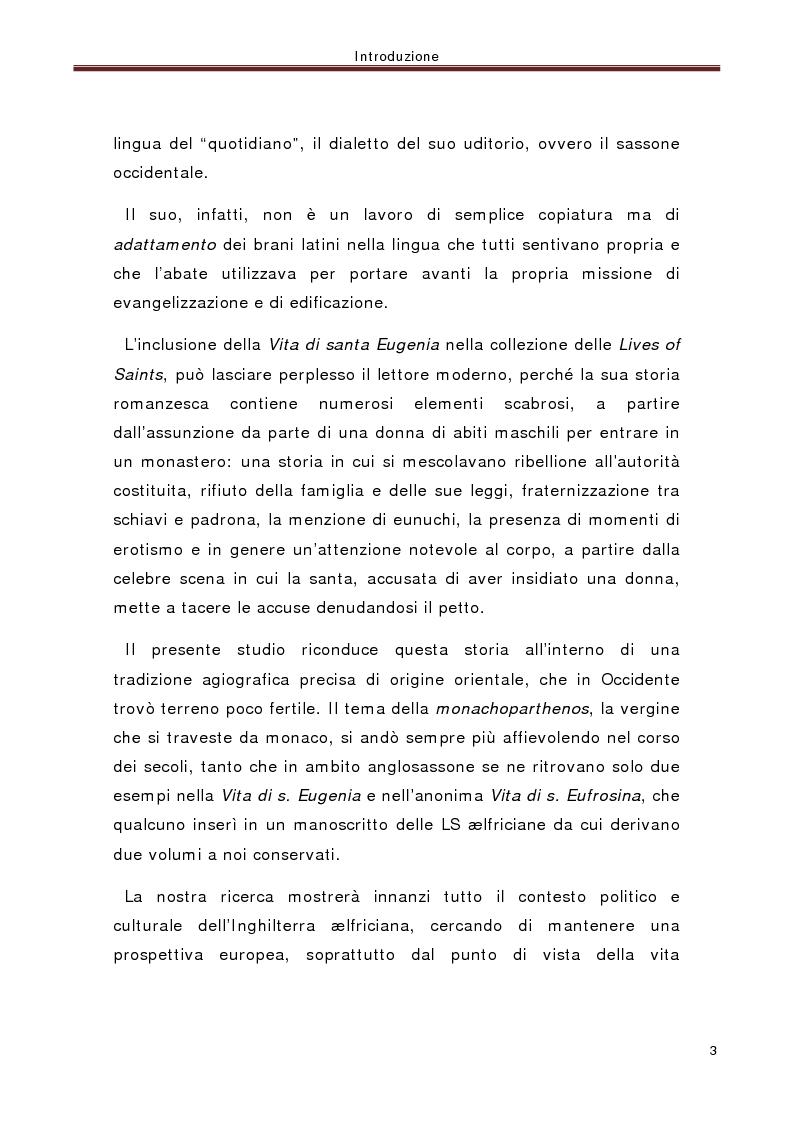 Anteprima della tesi: La ''Vita di santa Eugenia'' nel contesto anglosassone, Pagina 2