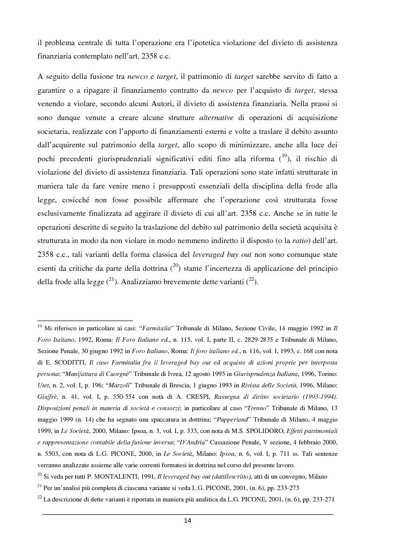 Anteprima della tesi: Il merger leveraged buy out - L'art. 2501 bis nella riforma del diritto societario, Pagina 6