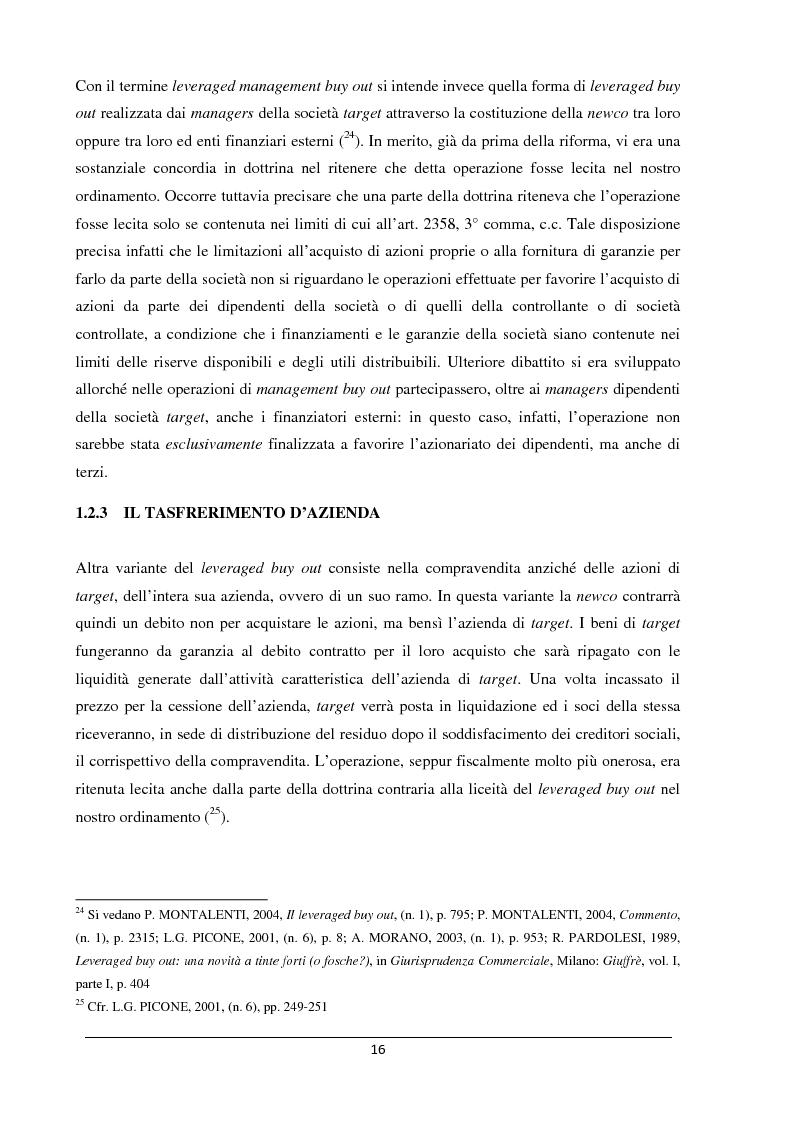 Anteprima della tesi: Il merger leveraged buy out - L'art. 2501 bis nella riforma del diritto societario, Pagina 8