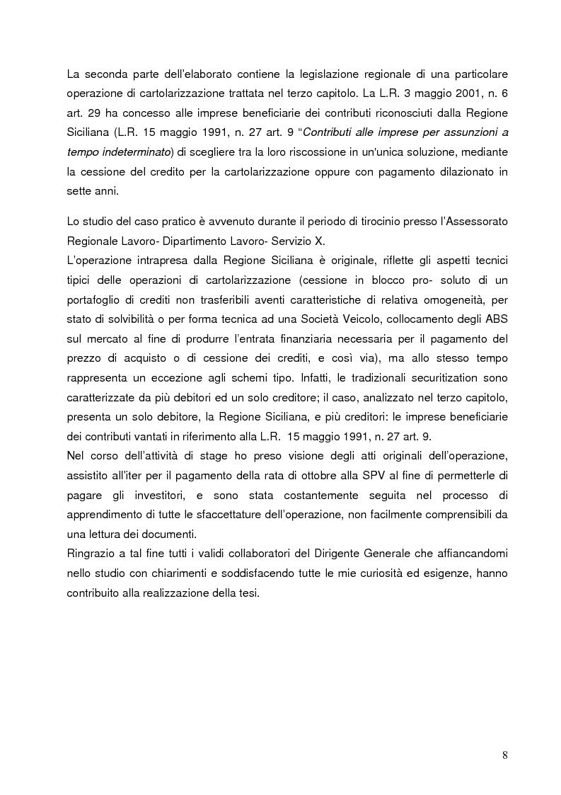 Anteprima della tesi: Aspetti finanziari e reali della cartolarizzazione dei crediti delle imprese siciliane, Pagina 3