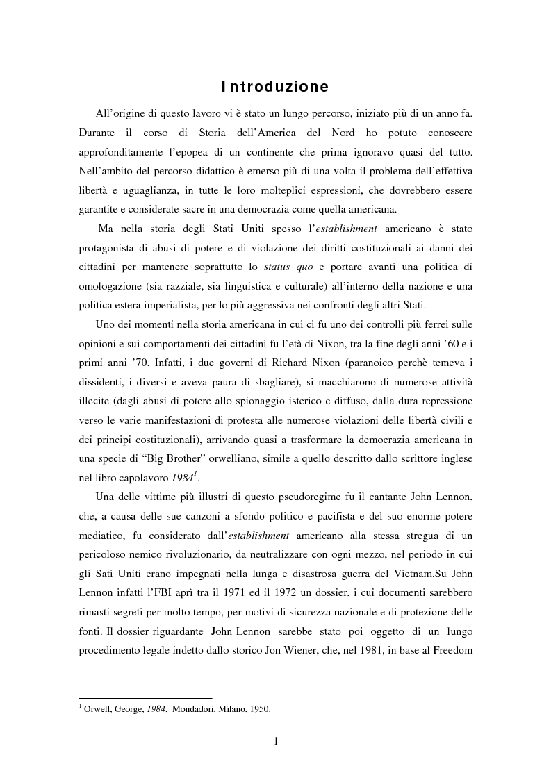 Anteprima della tesi: L'ospite indesiderato. Il governo degli Stati Uniti contro John Lennon (1971-1976)., Pagina 1