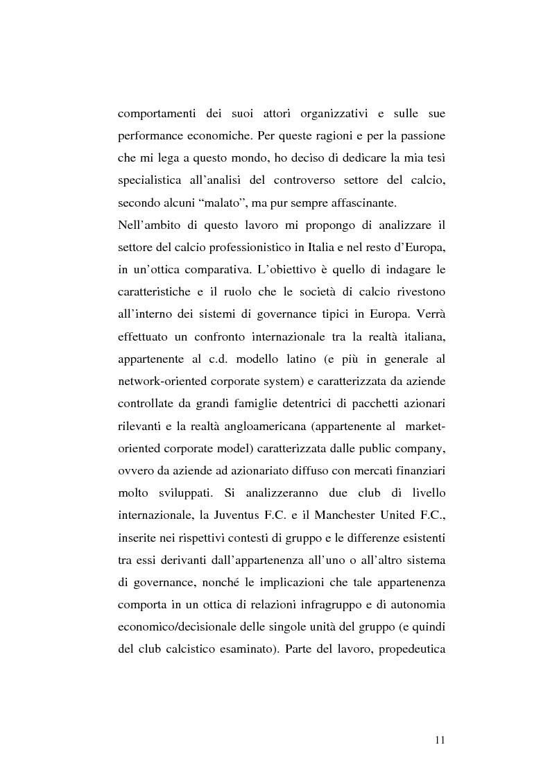Anteprima della tesi: Le società di calcio nel contesto di gruppo aziendale: un confronto internazionale, Pagina 4