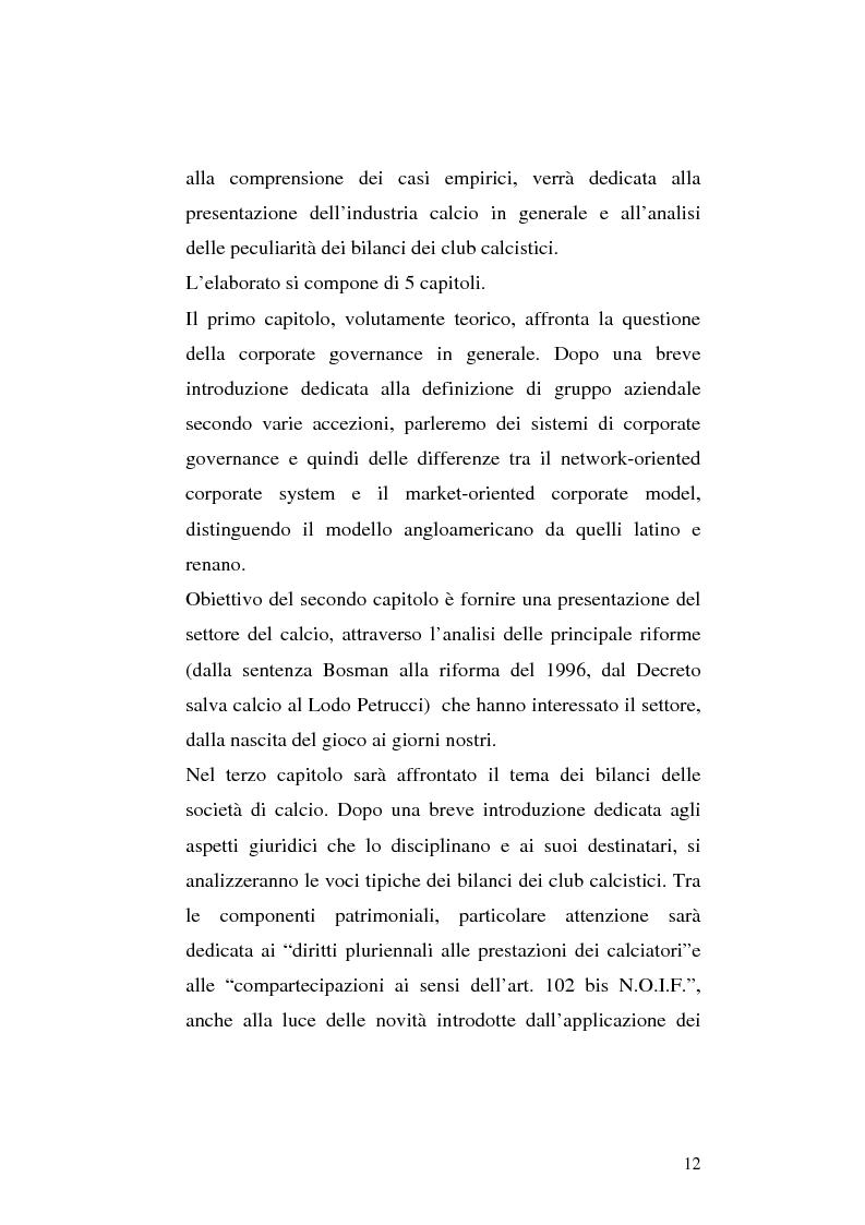Anteprima della tesi: Le società di calcio nel contesto di gruppo aziendale: un confronto internazionale, Pagina 5