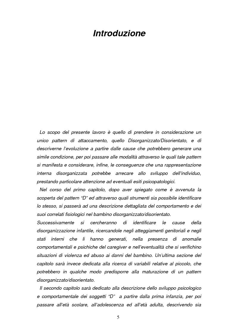 Anteprima della tesi: Disorganizzazione dell'attaccamento ed esiti psicopatologici lungo il ciclo di vita, Pagina 1
