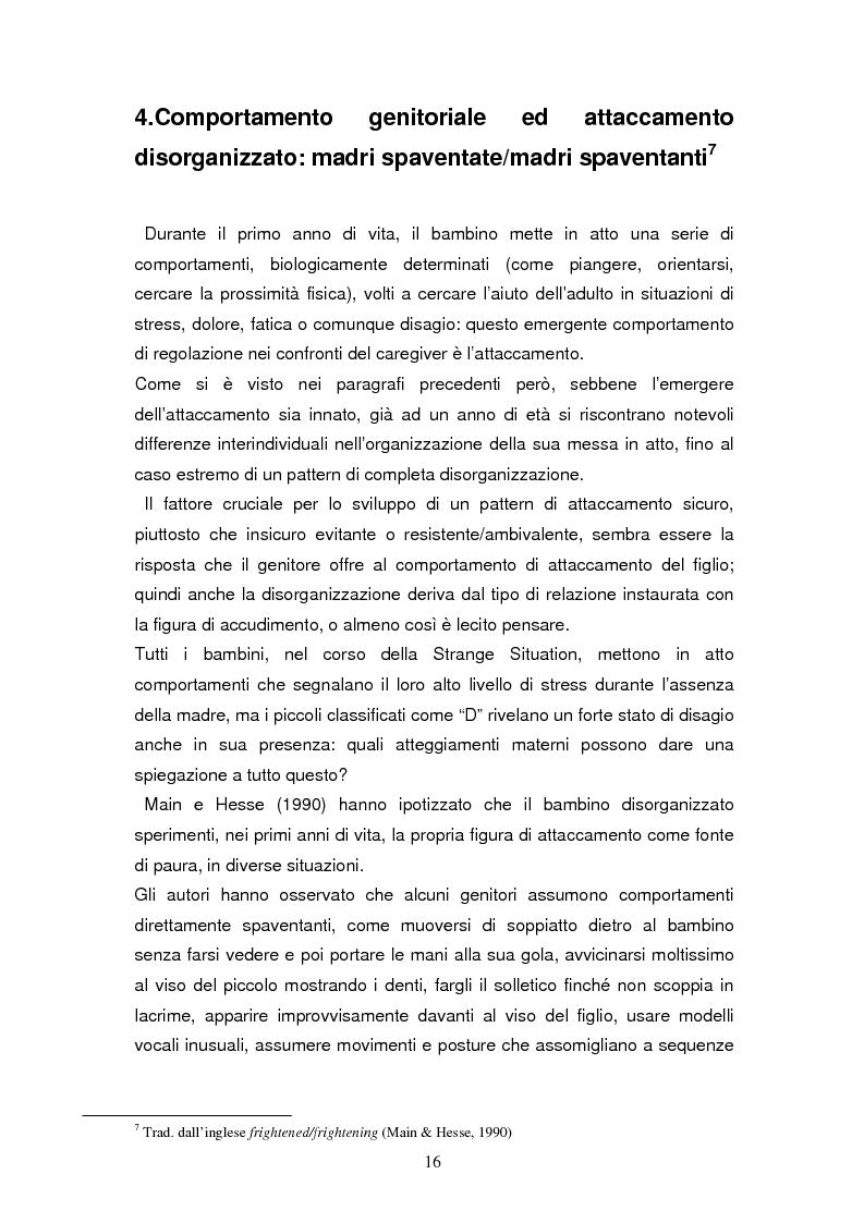 Anteprima della tesi: Disorganizzazione dell'attaccamento ed esiti psicopatologici lungo il ciclo di vita, Pagina 12
