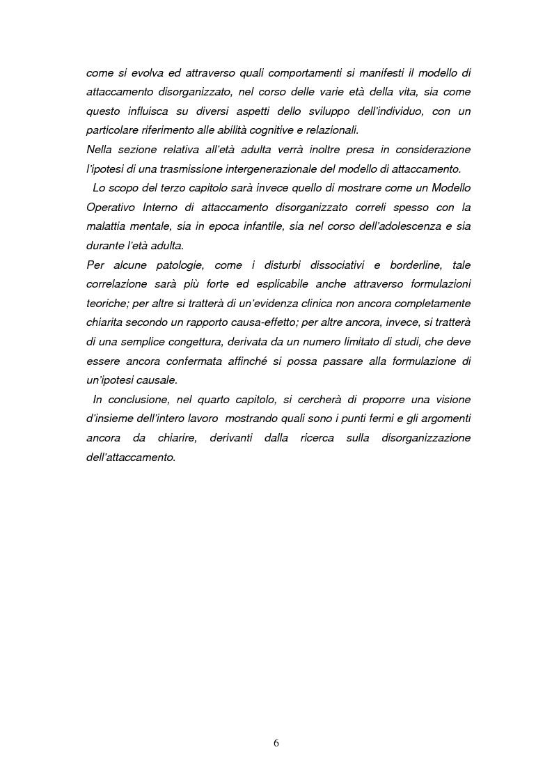 Anteprima della tesi: Disorganizzazione dell'attaccamento ed esiti psicopatologici lungo il ciclo di vita, Pagina 2