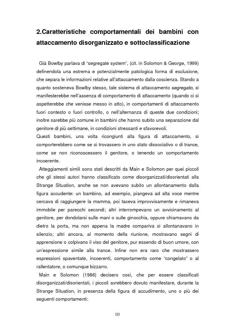 Anteprima della tesi: Disorganizzazione dell'attaccamento ed esiti psicopatologici lungo il ciclo di vita, Pagina 6