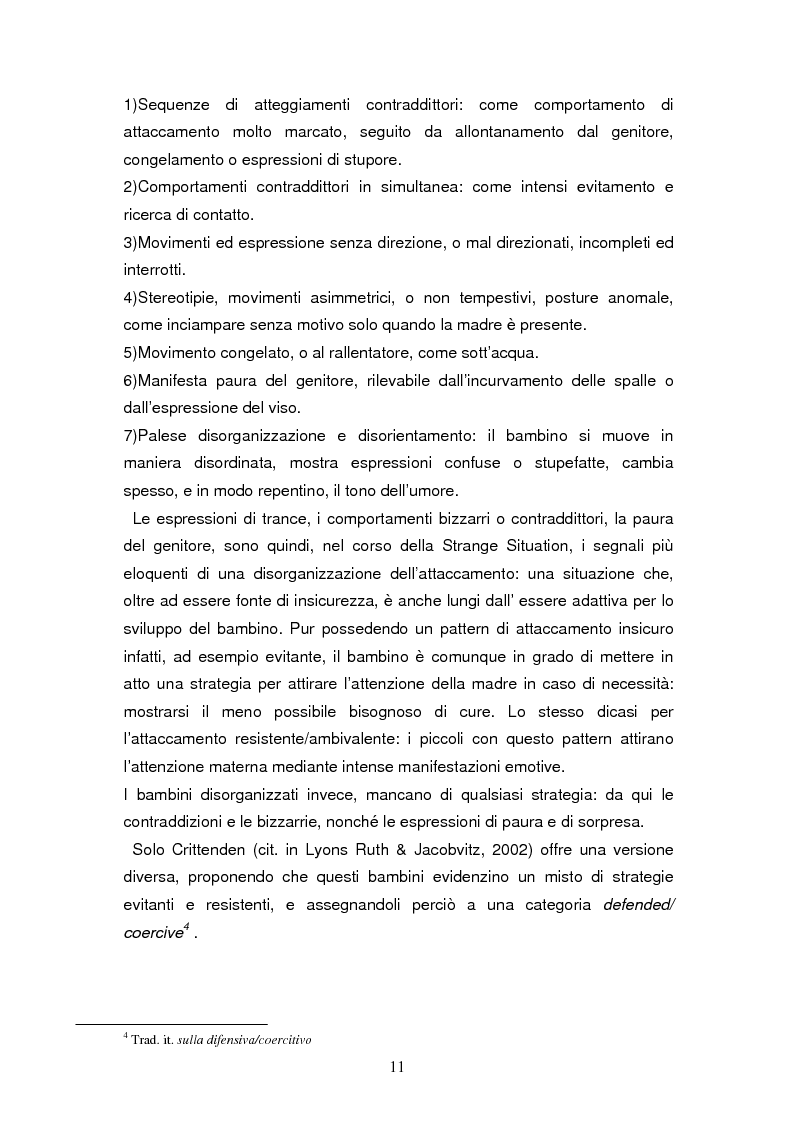 Anteprima della tesi: Disorganizzazione dell'attaccamento ed esiti psicopatologici lungo il ciclo di vita, Pagina 7