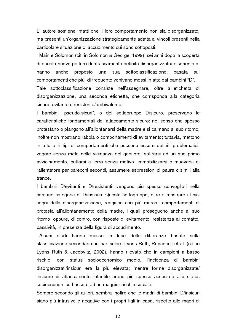 Anteprima della tesi: Disorganizzazione dell'attaccamento ed esiti psicopatologici lungo il ciclo di vita, Pagina 8