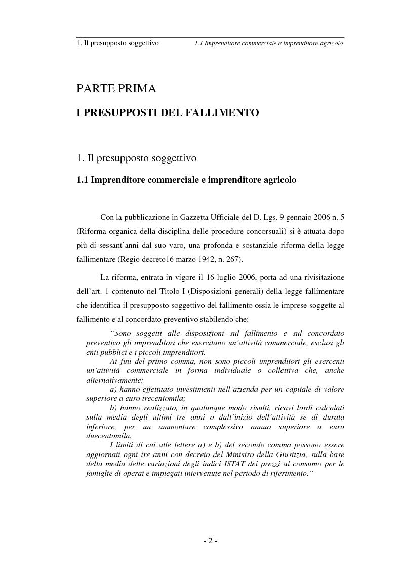 Anteprima della tesi: L'imprenditore soggetto a fallimento alla luce del decreto correttivo del settembre 2007, Pagina 2
