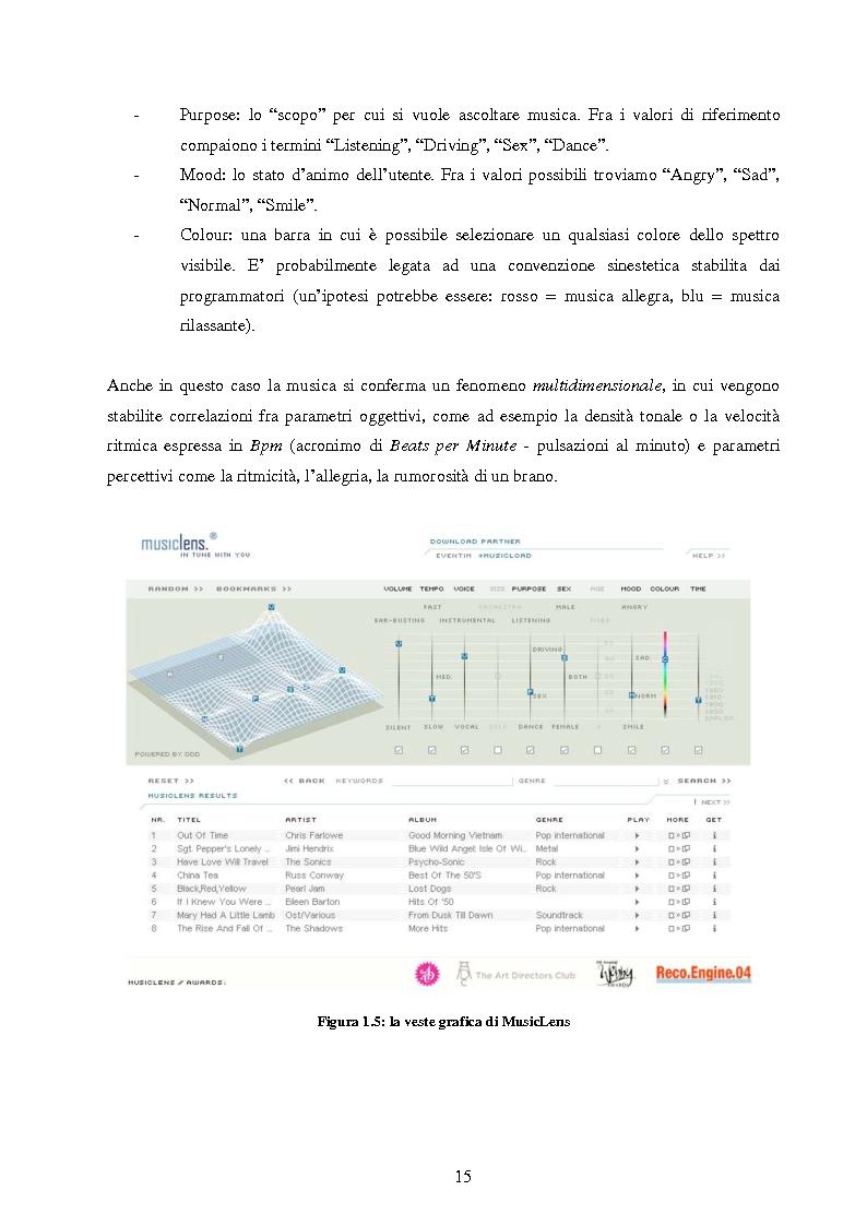 Anteprima della tesi: Analisi di interfacce per la ricerca di brani musicali: finalità mood-based e prototipo di Music Mood Galaxy, Pagina 9