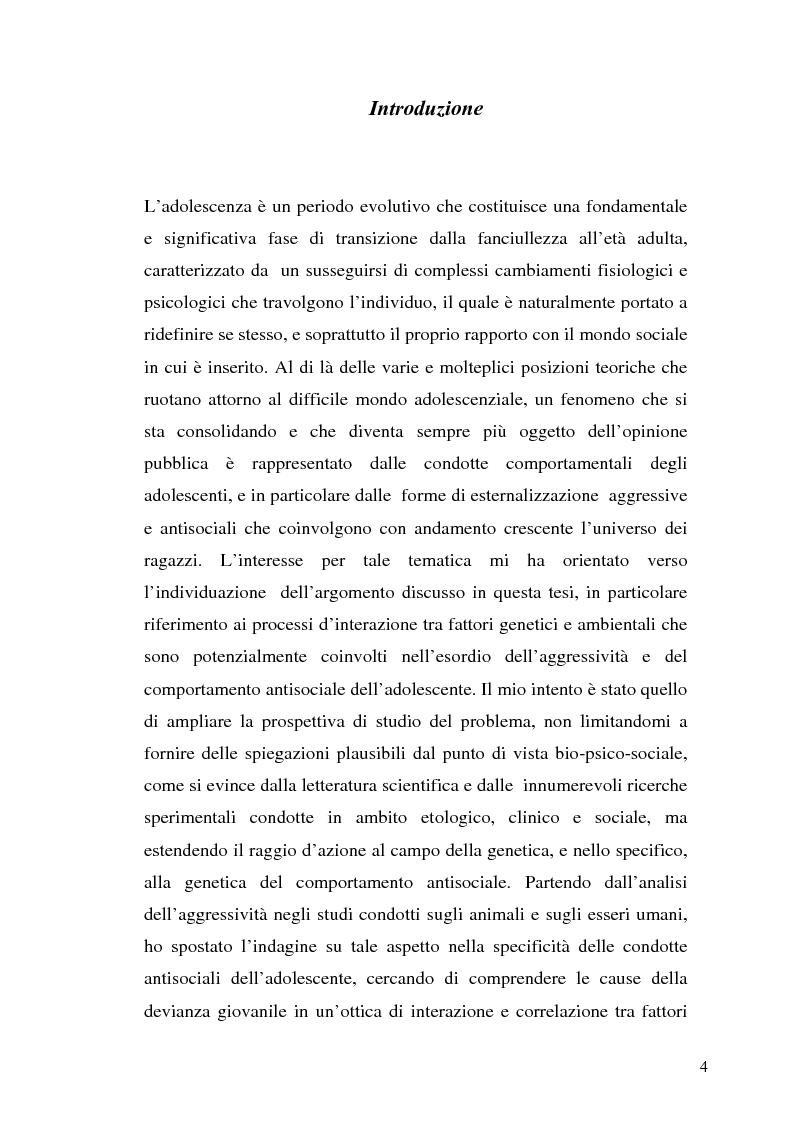 Anteprima della tesi: L'interazione tra fattori genetici e ambientali nelle condotte aggressive e antisociali degli adolescenti: il ruolo del polimorfismo MAOA (monoamina ossidasi-A), Pagina 1