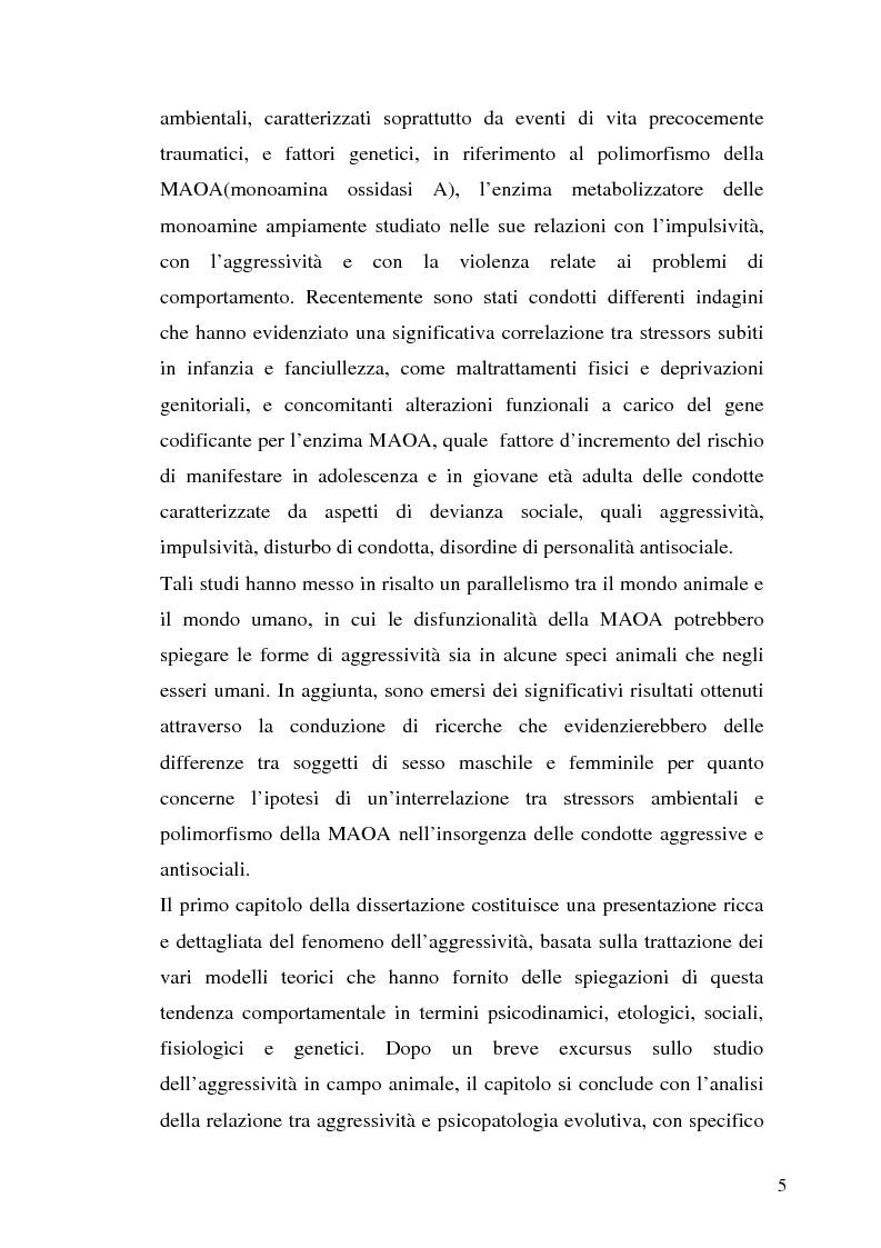 Anteprima della tesi: L'interazione tra fattori genetici e ambientali nelle condotte aggressive e antisociali degli adolescenti: il ruolo del polimorfismo MAOA (monoamina ossidasi-A), Pagina 2