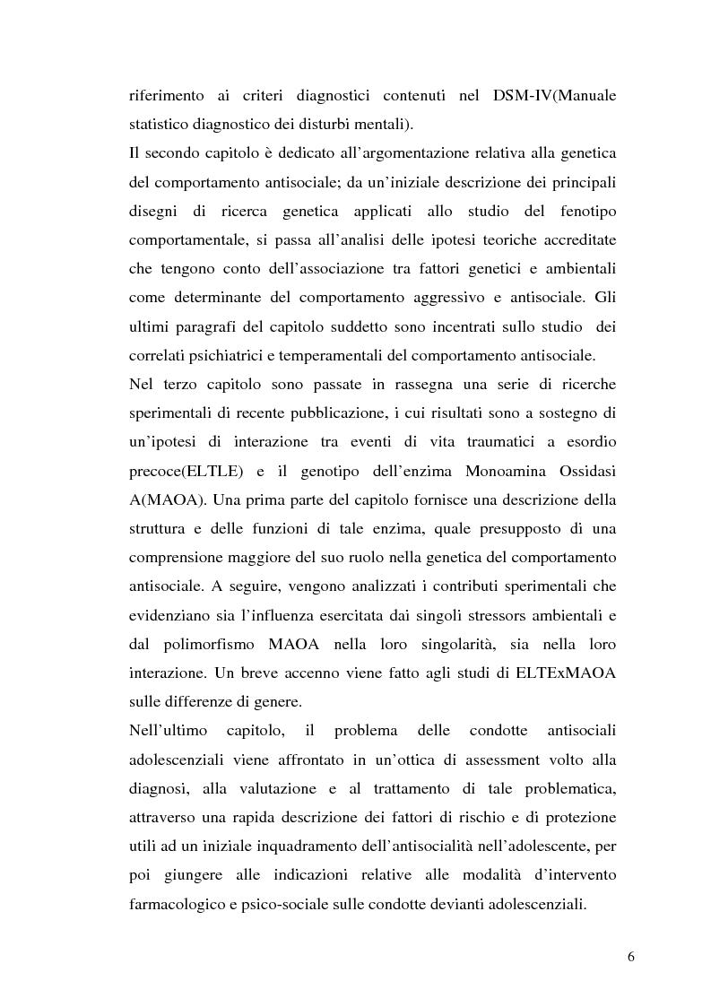 Anteprima della tesi: L'interazione tra fattori genetici e ambientali nelle condotte aggressive e antisociali degli adolescenti: il ruolo del polimorfismo MAOA (monoamina ossidasi-A), Pagina 3