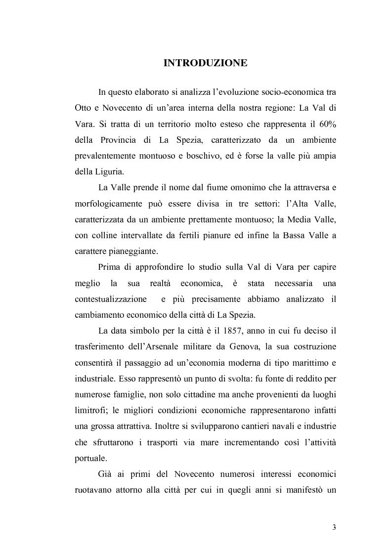 Anteprima della tesi: L'economia della Val di Vara tra Otto e Novecento, Pagina 1