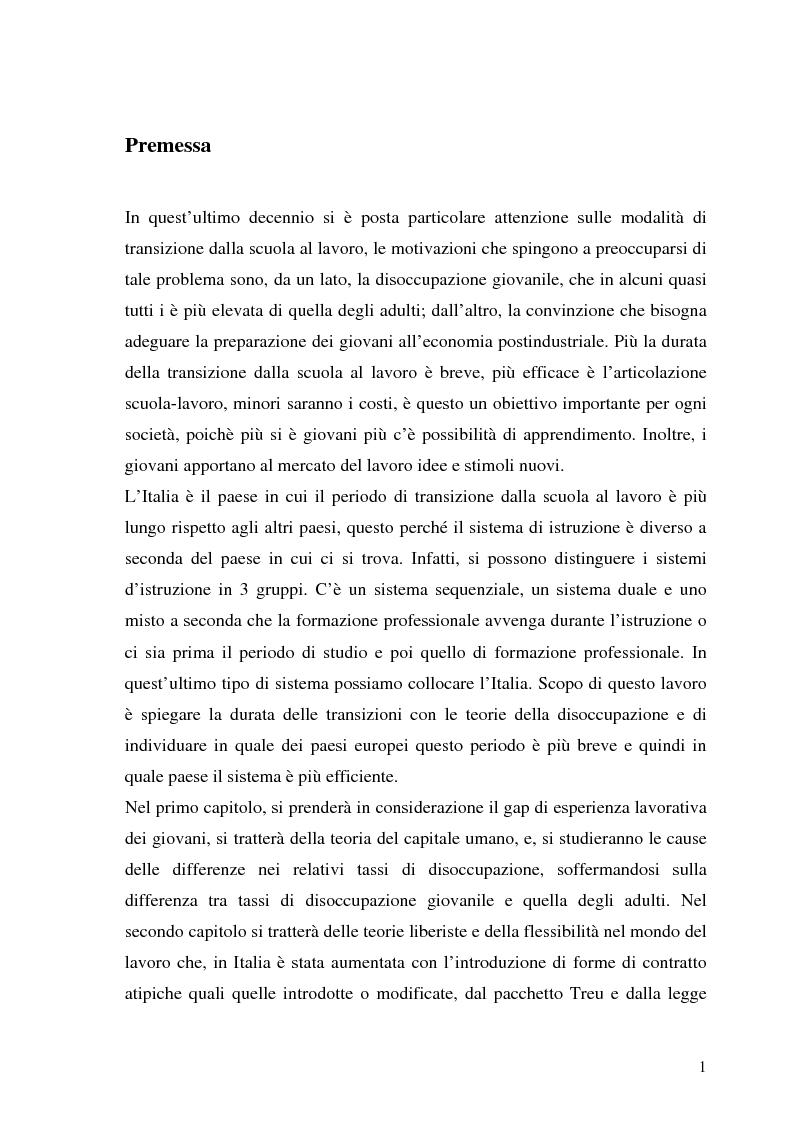 Anteprima della tesi: Le transizioni scuola-lavoro dei giovani. Teoria ed evidenza empirica, Pagina 1