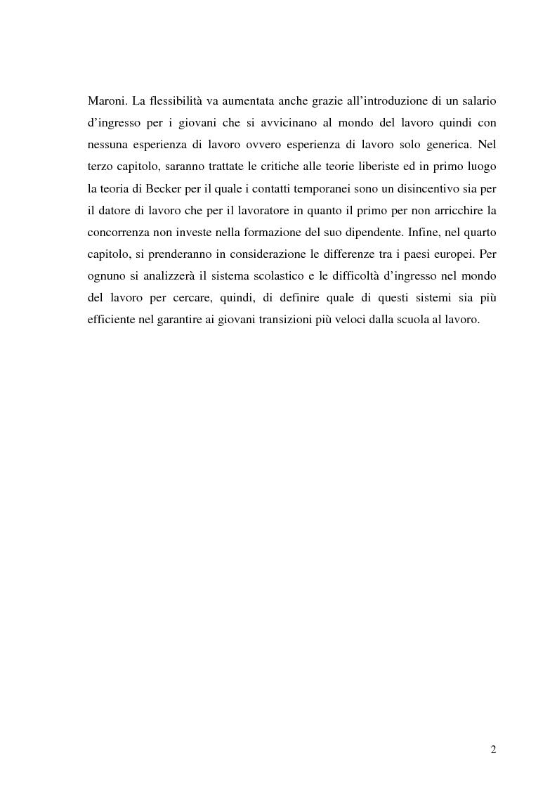 Anteprima della tesi: Le transizioni scuola-lavoro dei giovani. Teoria ed evidenza empirica, Pagina 2