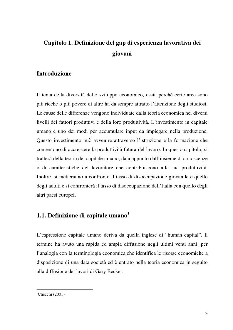 Anteprima della tesi: Le transizioni scuola-lavoro dei giovani. Teoria ed evidenza empirica, Pagina 3