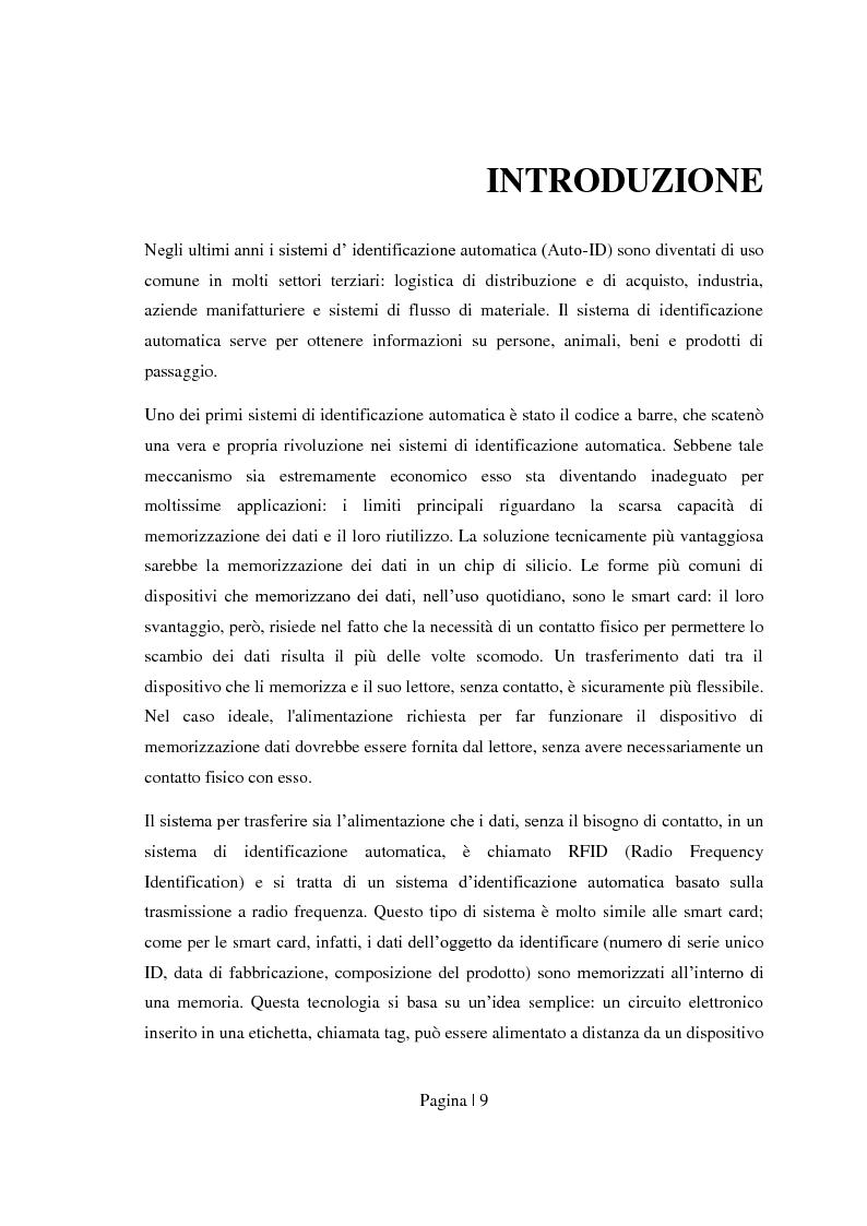 Anteprima della tesi: Sicurezza per Radio Frequency Identification: tracciare le merci preservando la privacy, Pagina 1