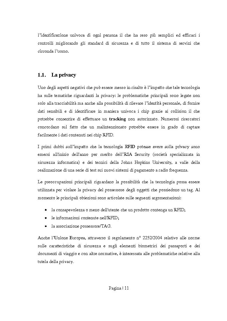 Anteprima della tesi: Sicurezza per Radio Frequency Identification: tracciare le merci preservando la privacy, Pagina 3