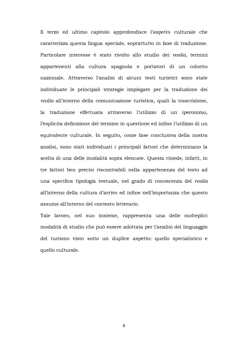 Anteprima della tesi: Il linguaggio del turismo: la traduzione dei realia tra linguaggio specialistico e lingua di cultura, Pagina 3