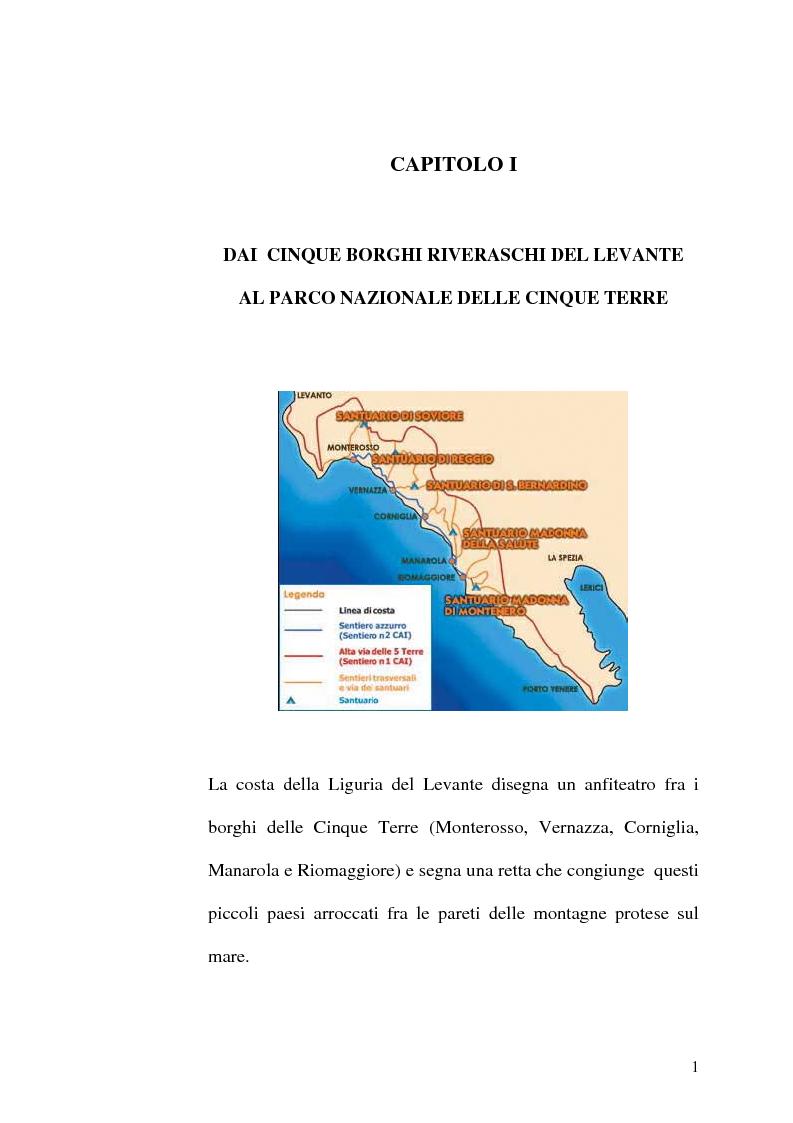 Anteprima della tesi: Storia delle Cinque terre: dai borghi riveraschi al Parco nazionale Cinque terre, Pagina 1